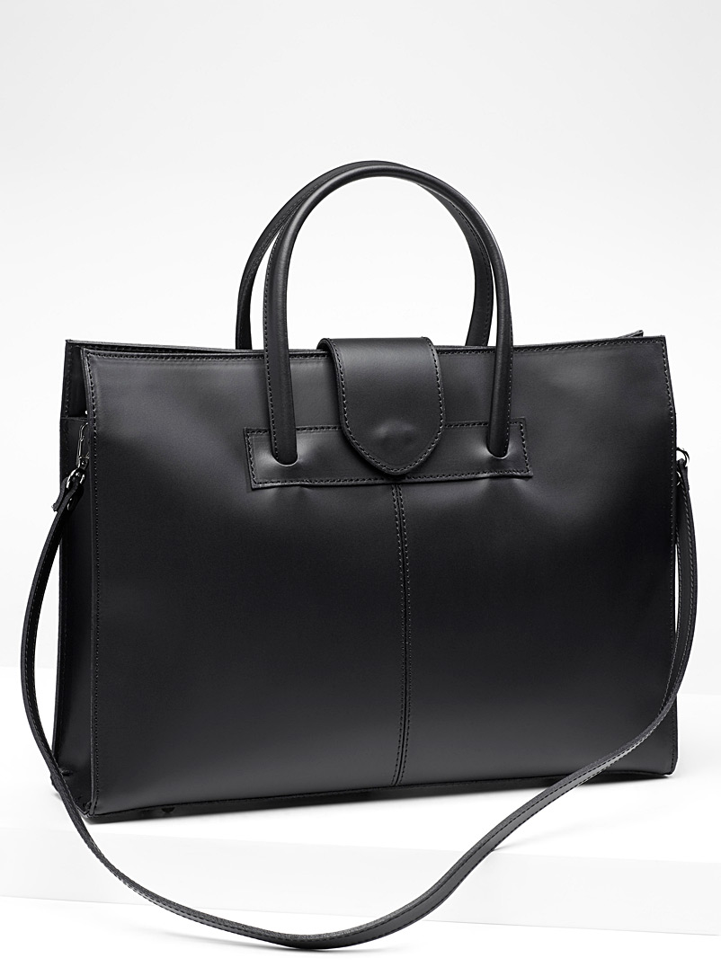 Structured leather briefcase - Leather and Suede - Black