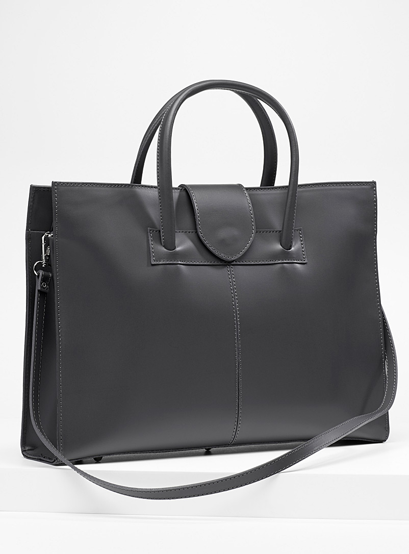 Structured leather briefcase - Leather and Suede - Grey