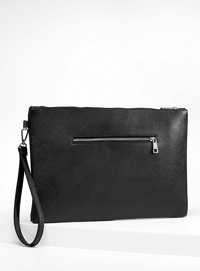 Le 31 Black Grained leather clutch for men