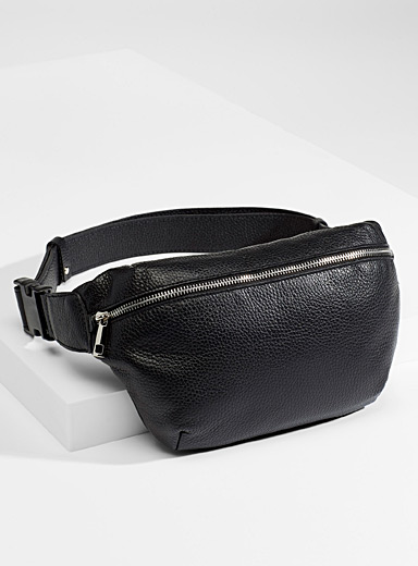 Grained leather belt bag