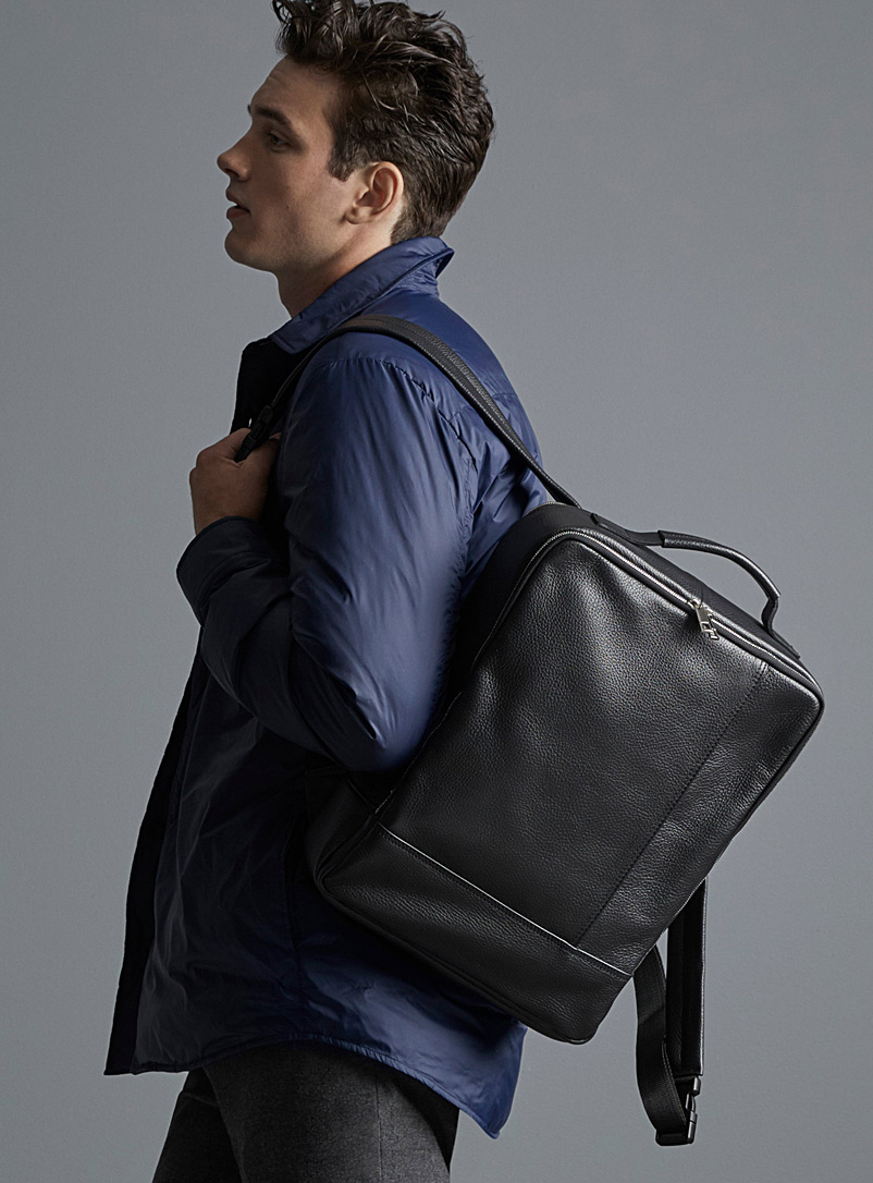 Grained leather backpack