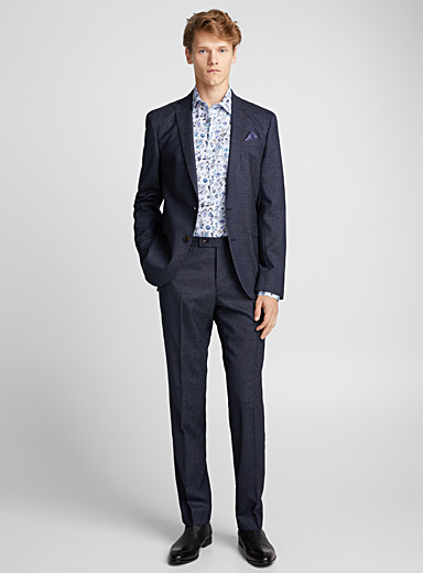 Wool semi-plain suit <br>Regular fit
