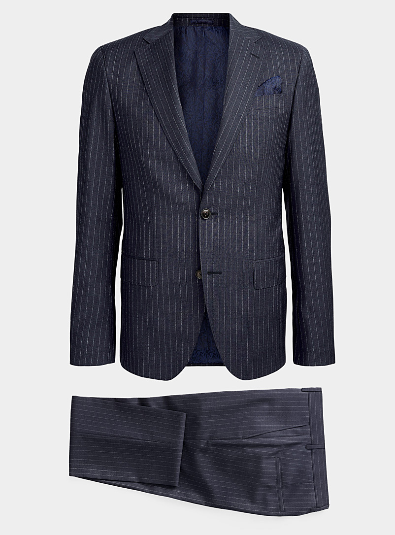 Sand Marine Blue Star Napoli Craig thin stripe suit for men