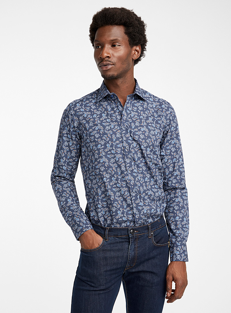 Sand Marine Blue Graphic State N shirt for men