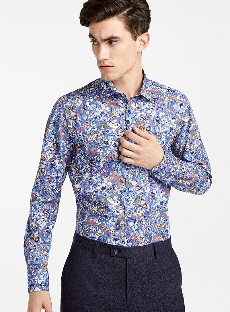 Floral State N shirt - Sand - Patterned Blue