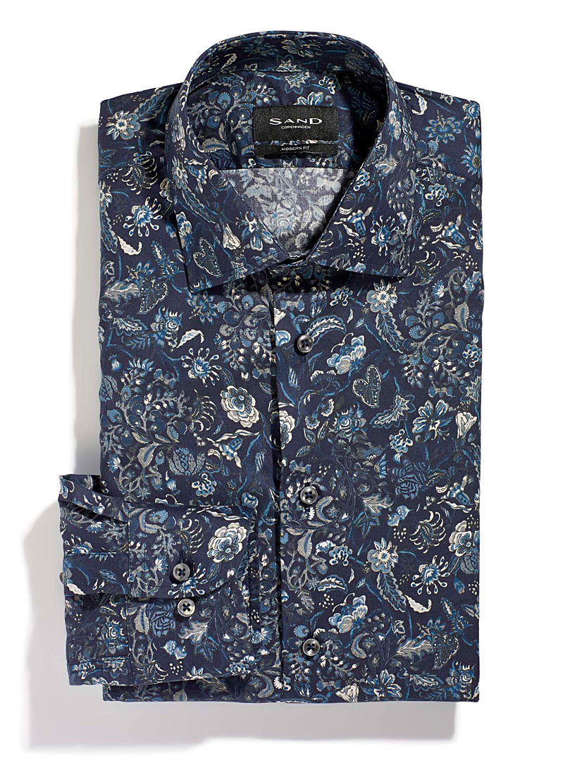 Sand Marine Blue Floral shirt for men