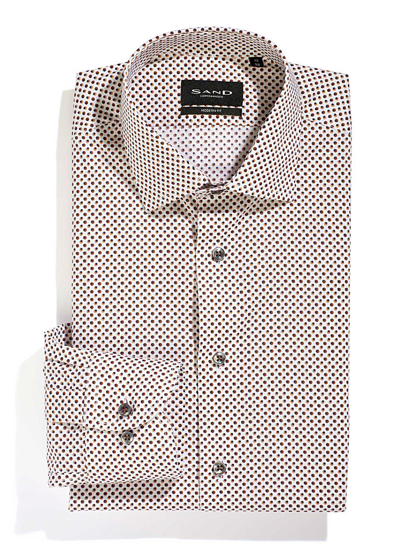Sand White Polka dot shirt for men