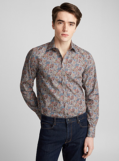 Paisley on houndstooth shirt