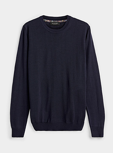 Sand Marine Blue Ultra fine merino wool sweater for men