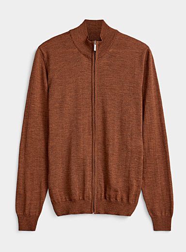 Sand Copper Merino wool mock neck for men