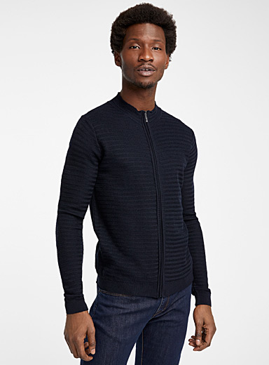Sand Marine Blue Knit Ingram cardigan for men
