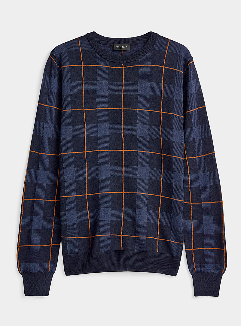 Sand Marine Blue Windowpane check sweater for men