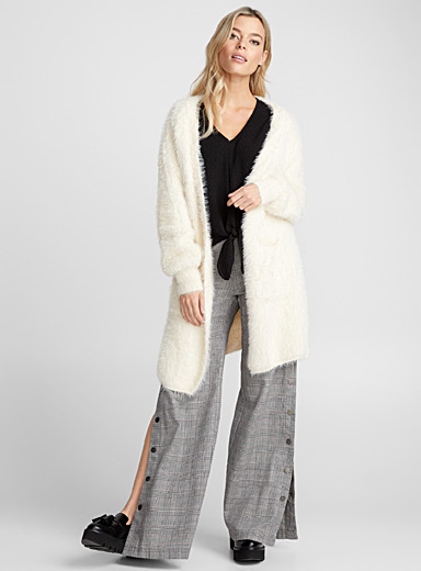 Long faux-fur knit cardigan
