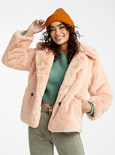 Peach plush jacket