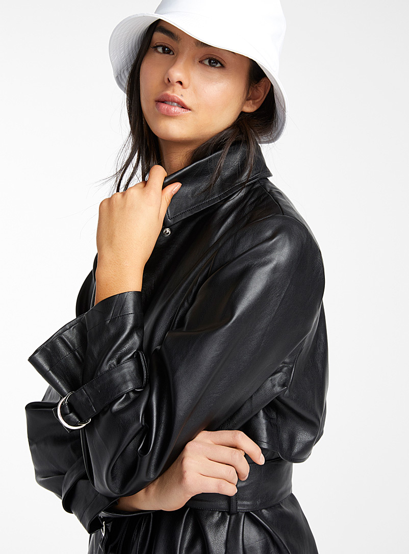 Mirror-detail faux-leather trench coat - Trenches - Black