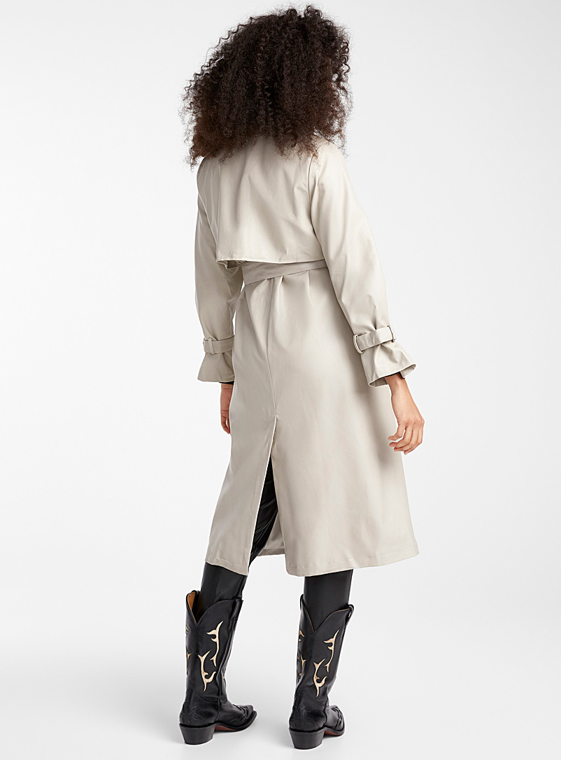 Mirror-detail faux-leather trench coat - Trenches - Cream Beige