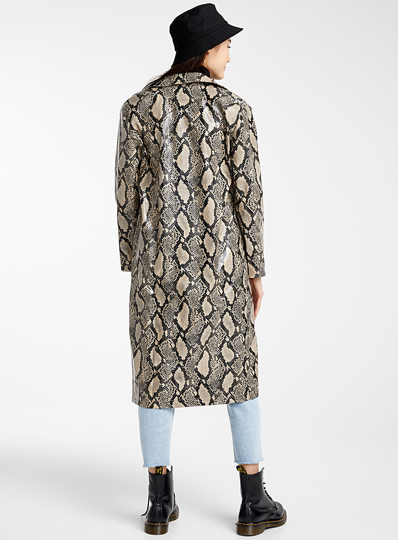 Long python coat - Trenches - Patterned Black