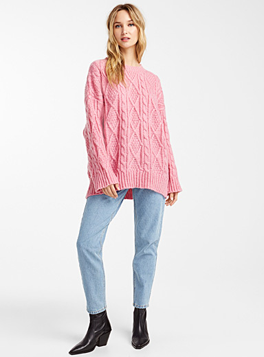 Bubble gum pink cable and braided sweater