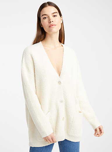 Loose fuzzy knit cardigan