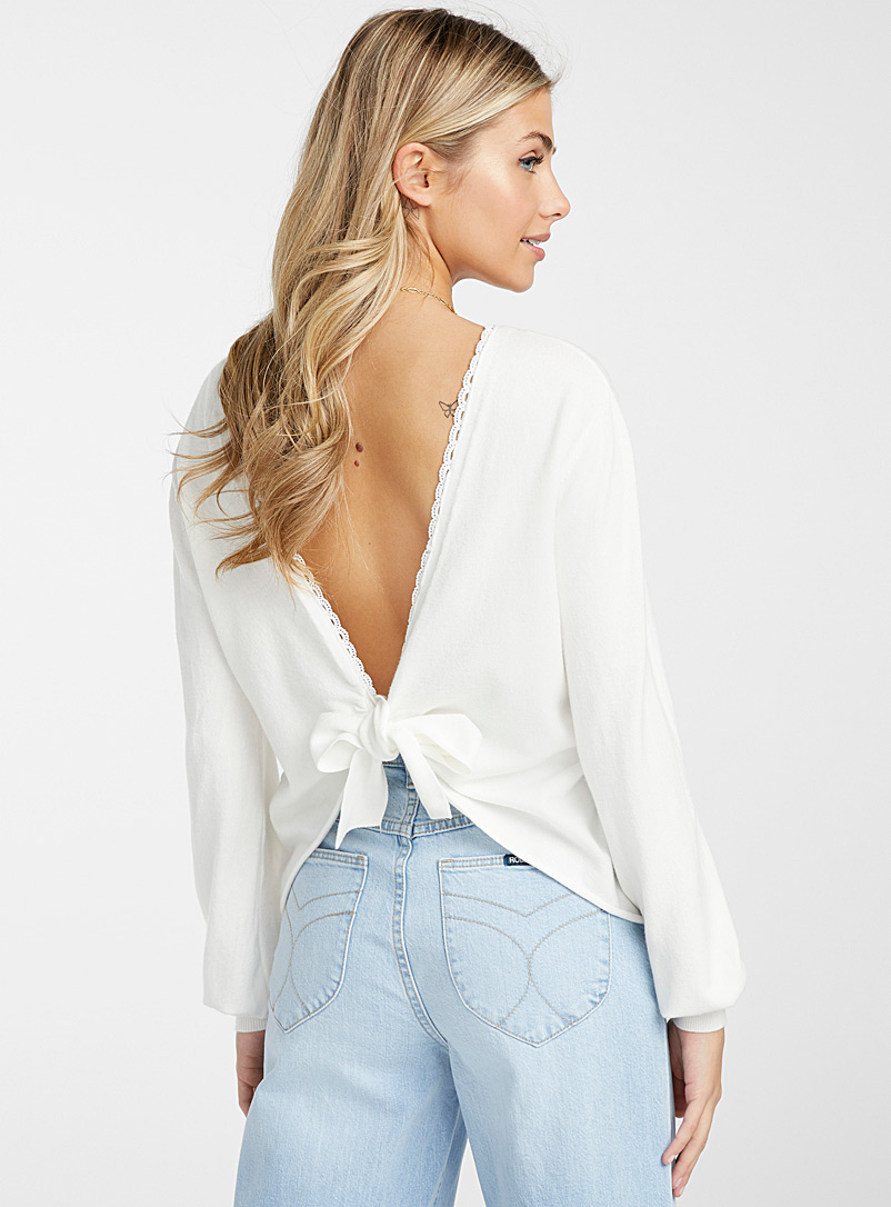 Ic?ne White Lace trim tie-back cardigan for women