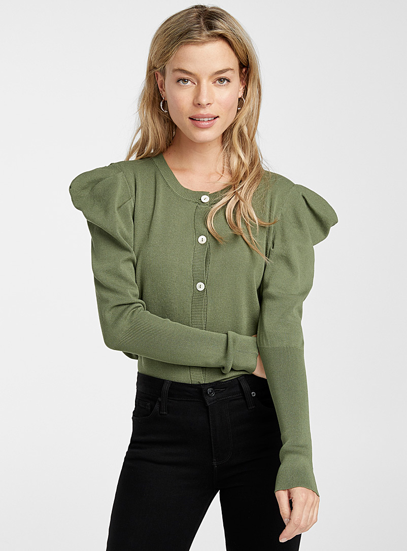 Icône Khaki Puff sleeve cardigan for women