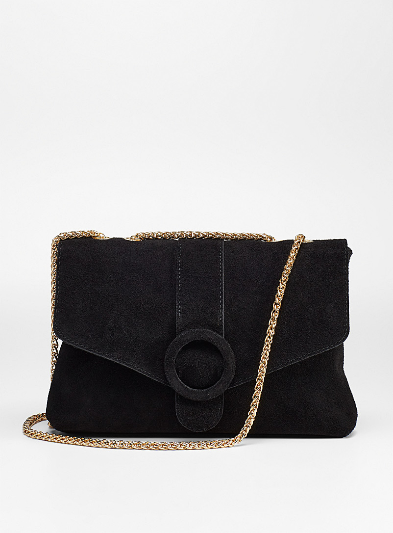 Simons Black Gold chain suede flap bag for women