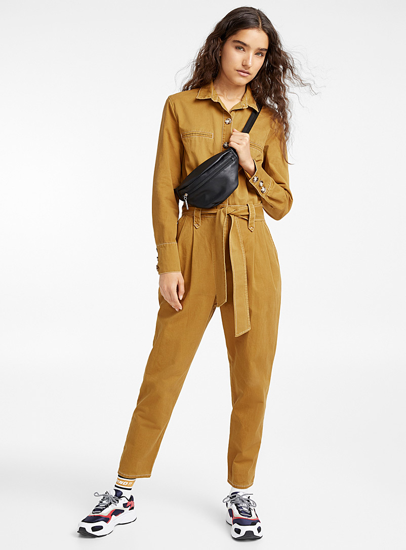 Contrast seam jumpsuit - Jumpsuits & Rompers - Brown