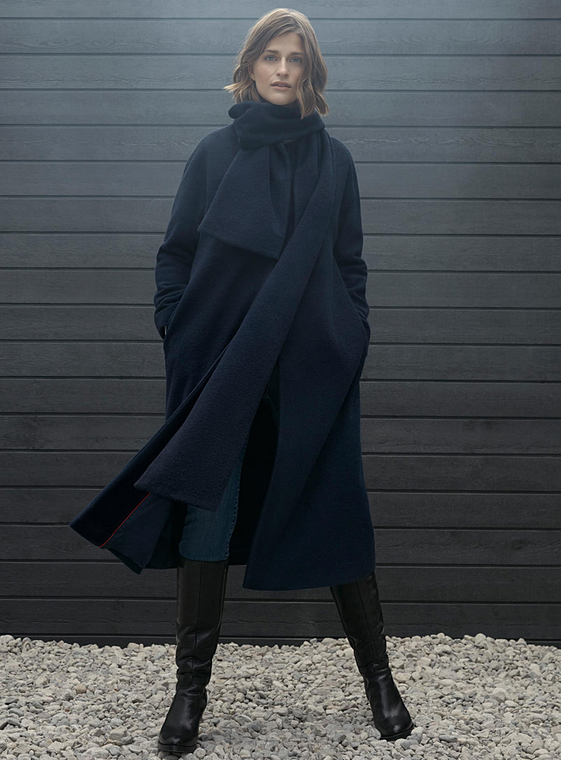 Maxi coat with scarf - Wool - Marine Blue