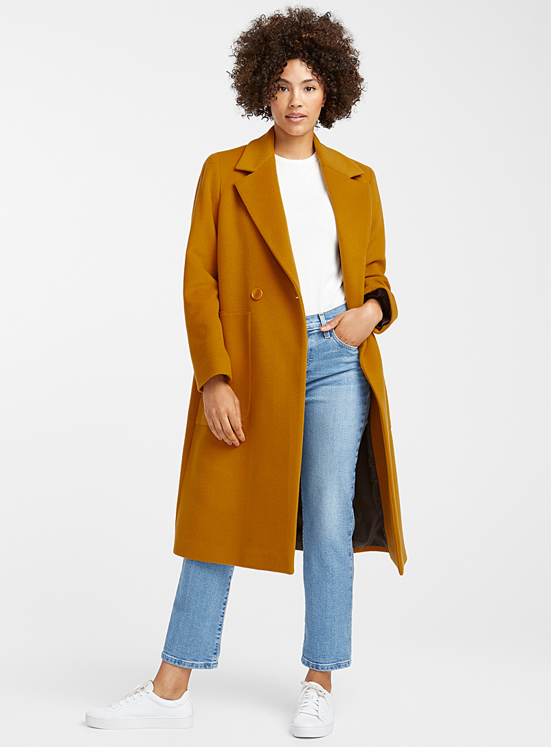 Tailored-collar overcoat - Wool - Dark Yellow