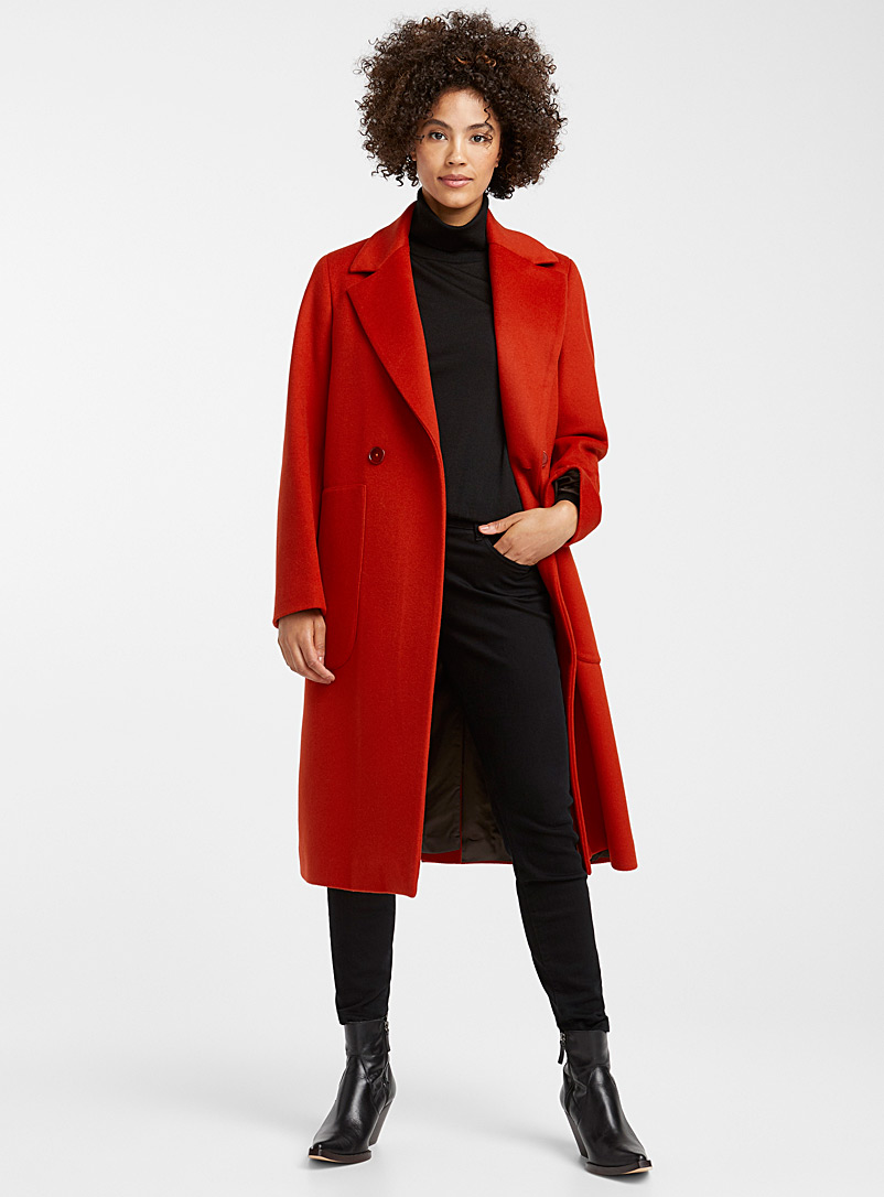 Tailored-collar overcoat - Wool - Dark Orange