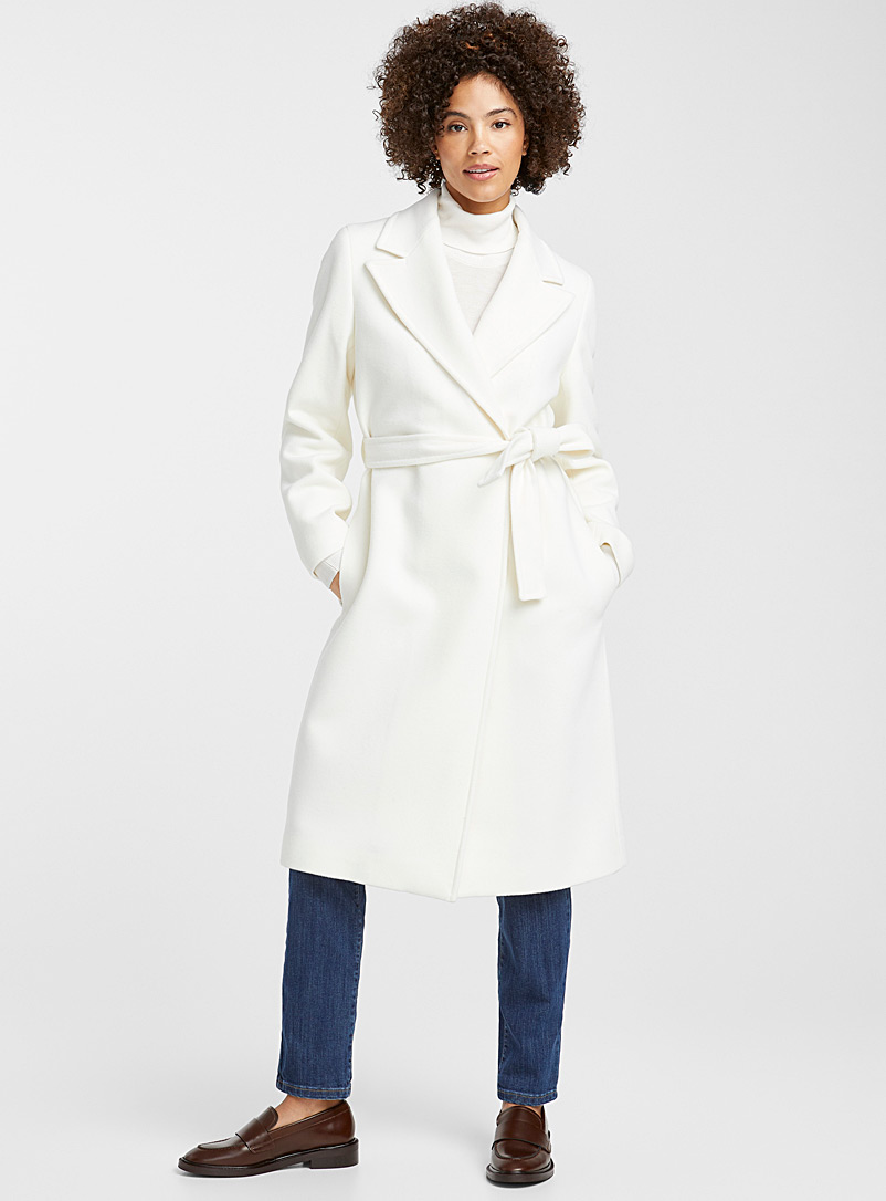 Tailored-collar belted wool coat - Wool - Ivory White