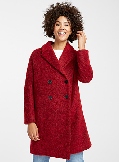 Mohair texture cherry coat