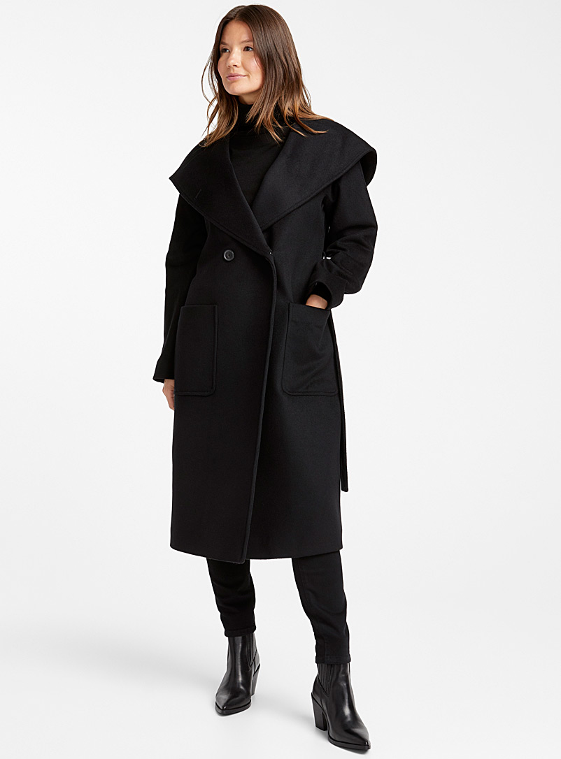 Double-breasted hooded coat - Wool - Black