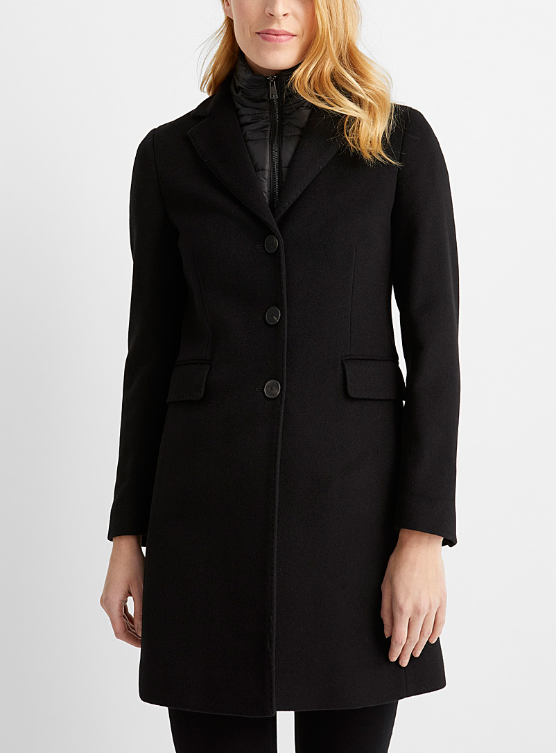 Contemporaine Black Puffer-collar wool coat for women