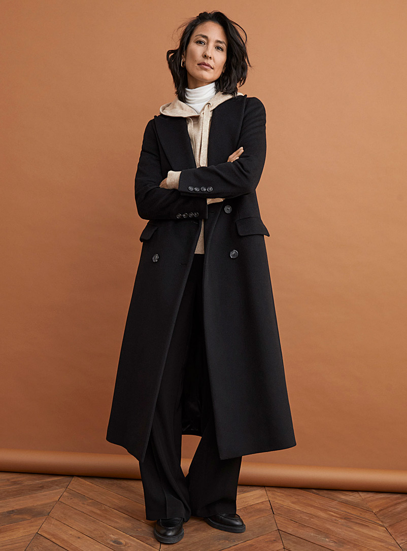 Contemporaine Black Four-button wool and cashmere overcoat for women
