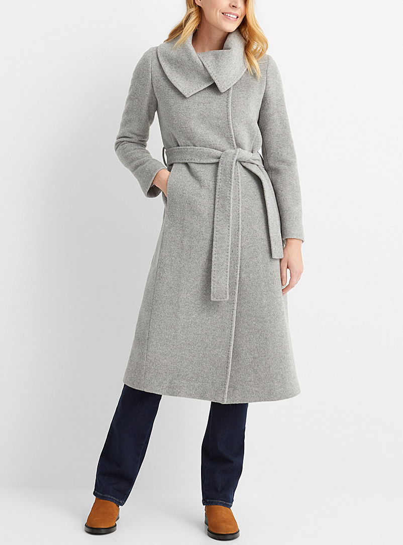 Contemporaine Grey Lapel collar belted mohair coat for women