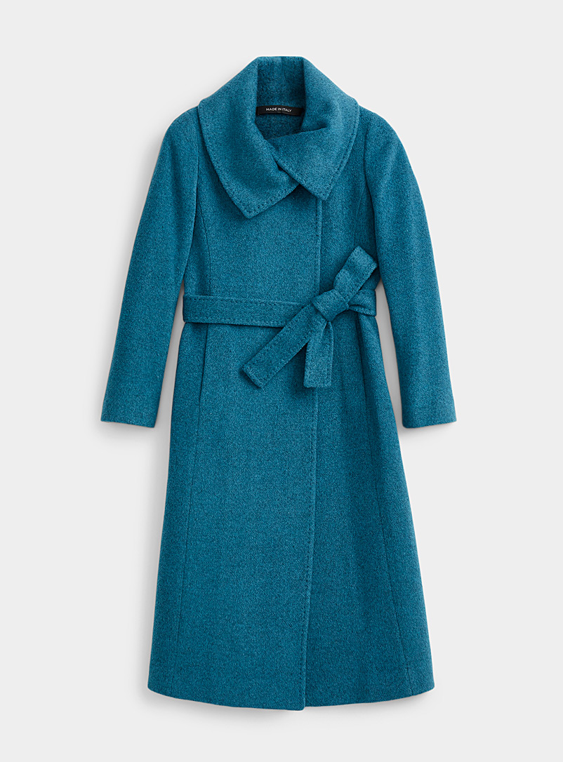 Contemporaine Teal Lapel collar belted coat for women