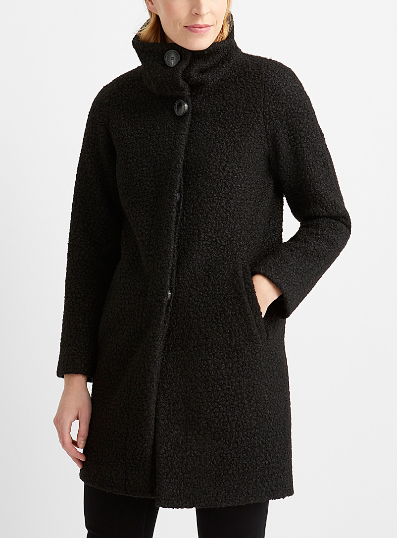 Bouclé texture mock-neck coat