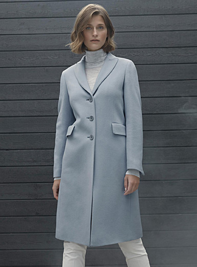 Flap-pocket wool overcoat