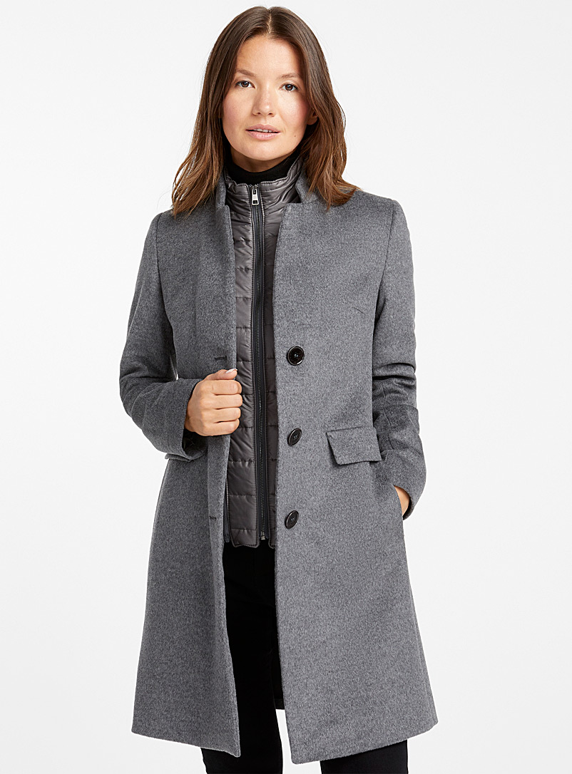 Quilted collar wool coat - Wool