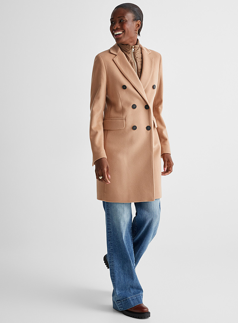 Contemporaine Cream Beige Quilted-collar wool and cashmere coat for women