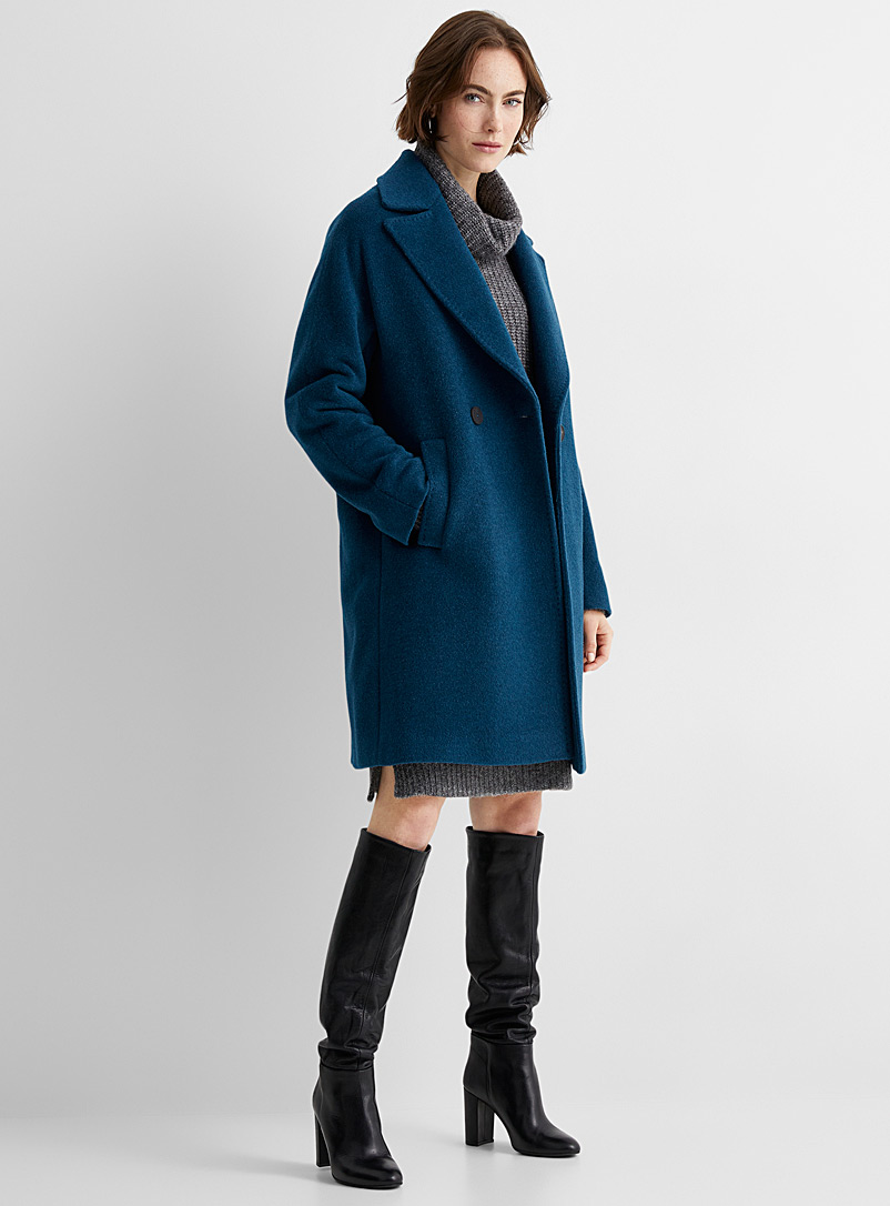 Contemporaine Baby Blue Double-breasted wool and mohair overcoat for women