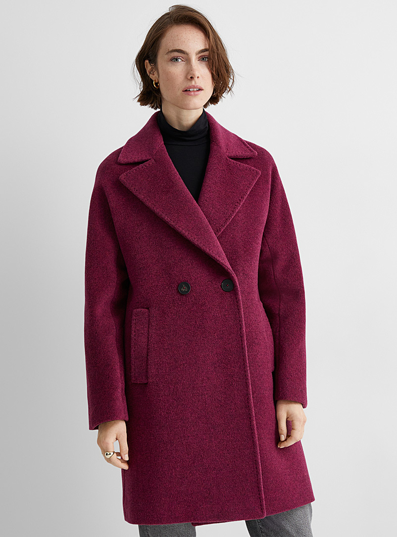 Contemporaine Ruby Red Double-breasted wool and mohair overcoat for women