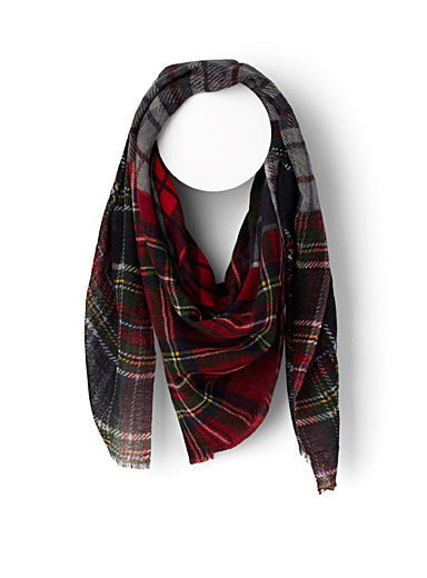Check patchwork scarf