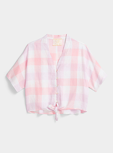 Pastel check tie shirt