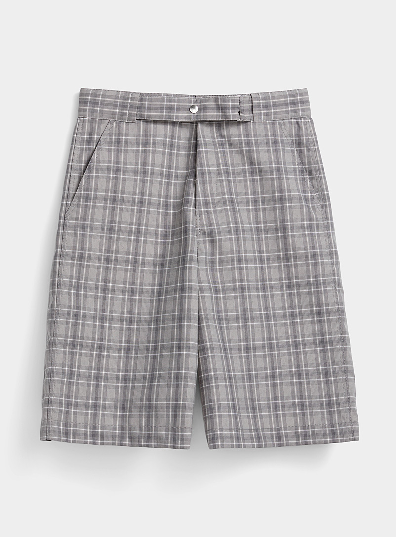 OAMC Grey Plaid Bermudas for men
