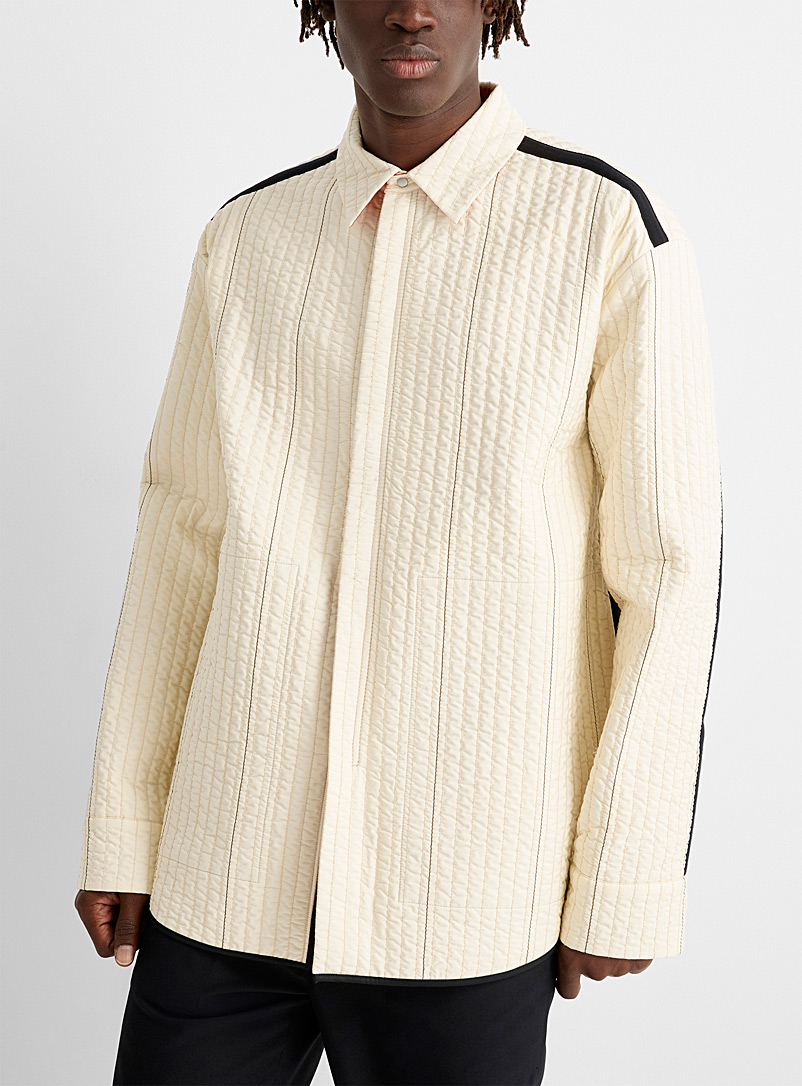 OAMC White Temple quilted zip overshirt for men