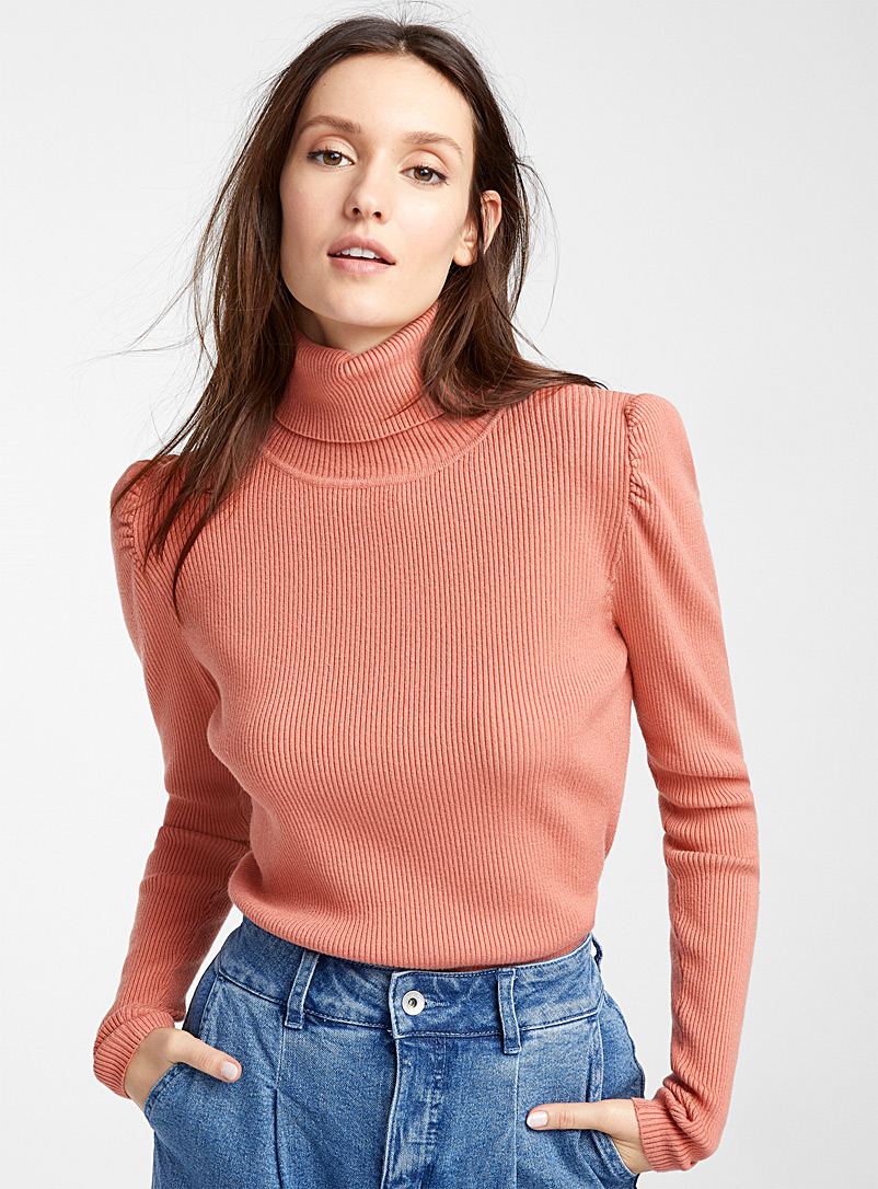 Icône Dusky Pink Finely-ribbed turtleneck for women