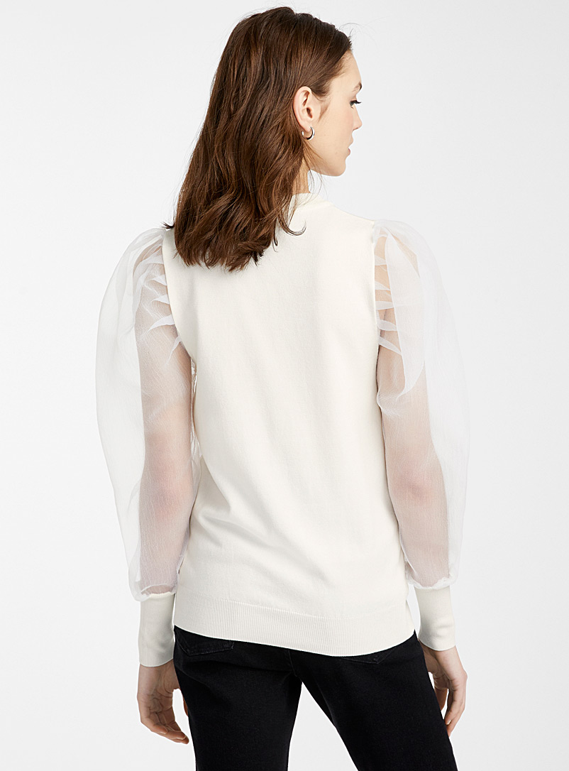 Puff voile sleeve sweater - Sweaters - White