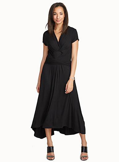 Knotted waist fluid jersey dress